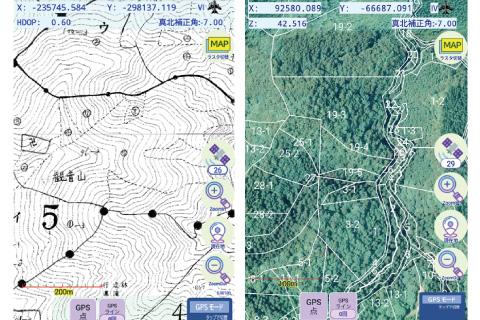 森林計画図・航空写真を背景地図に設定